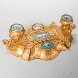 Dore Bronze and Sevres-style Porcelain Inkstand