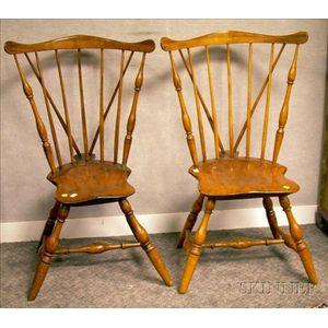 Pair of Fan-back Brace-back Side Chairs.