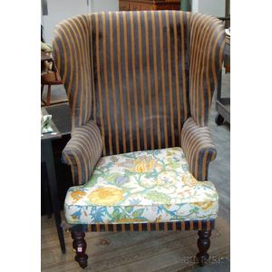 Federal Upholstered Mahogany Potty Seat Wing Chair.