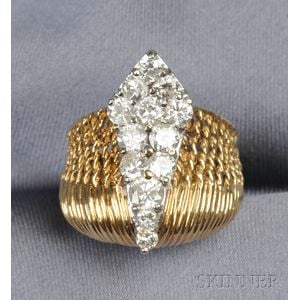 18kt Bicolor Gold and Diamond Ring