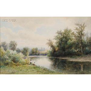 Hendrik-Dirk Kruseman Van Elten (Dutch/American, 1829-1904)      Boys Fishing on a River Bank