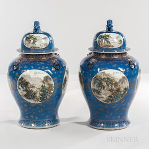 Pair of Large Chinese Baluster Vases