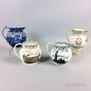 Four Wedgwood Transfer-decorated Ceramic Jugs
