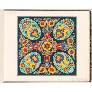 Dudíková [born Kozinová], Anna (1914-1951) Painted Folk Art Ornament Sample Book, Straznice, Moravia, Czech Republic, 1922-1926.