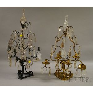 Two Cut Glass and Metal Candelabra