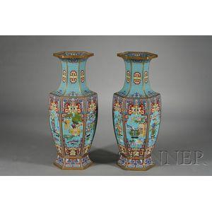 Pair of Large Cloisonne Enameled Vases