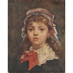 Attributed to Alessandro Altamura (Italian, 1855-1918)      Head of a French Girl in a Beribboned Cap
