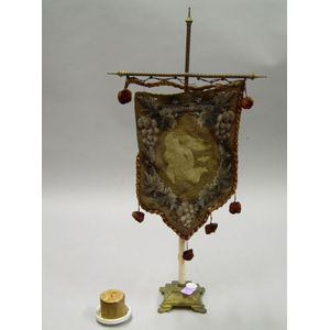 19th Century Beaded Cloth Candle Table Screen on Stand with a Candle.