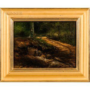 Daniel Kotz (American, 1848-1933)    Two Wooded Landscapes: Riverbank