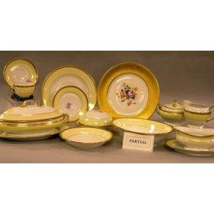 100-Piece Czech Gilt and Pale Yellow Banded Porcelain Partial Dinner Service and a Set of Twelve Heinrich & Co. Gilt and Floral Transfe