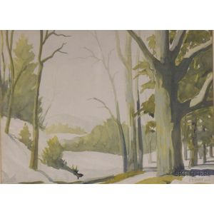 Framed Watercolor on Paper, A Study of the Adirondack Woods, New York, by John Paul Gruet (American, 20th Century)