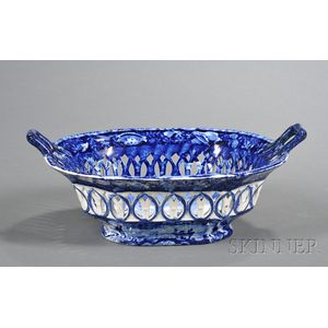 Historical Blue Transfer-decorated Staffordshire Pottery Basket
