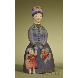 Polychrome Painted Chalkware Mother and Child