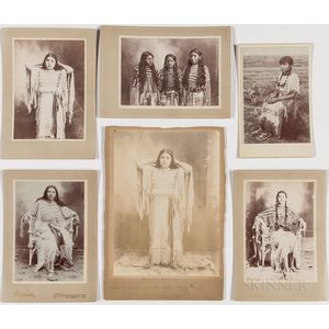 Five Cabinet Cards and a Photograph of Young Native American Women