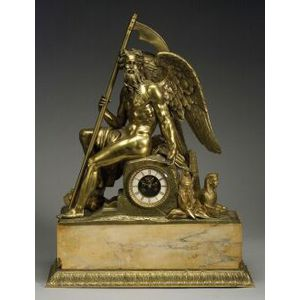 Large French Bronze and Marble Egyptian Revival Figural Clock