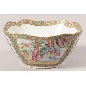 Cut Corner Rose Medallion Porcelain Bowl