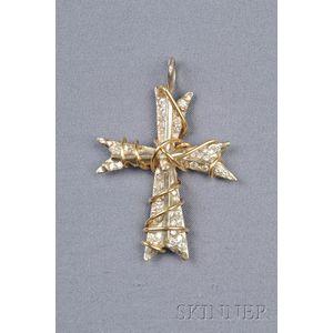 14kt Bicolor Gold and Diamond Cross Pendant