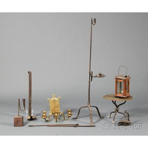 Eight Early Lighting and Hearth Items