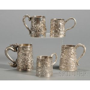 Five Small Chinese Export Silver Mugs