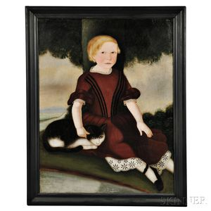 Attributed to Susan Catherine Moore Waters (New York/New Jersey, 1823-1900), Portrait of a Blond Child in a Dark Red Dress with a Cat,