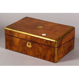 Victorian Burlwood and Brass-bound Lap Desk
