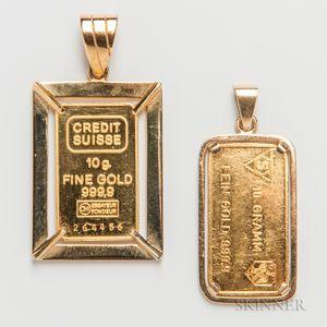 Two Gold Ingots Mounted as Pendants