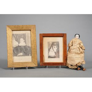 Two Small Framed Portraits of Women and a Small Porcelain Shoulder Head Doll