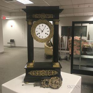 Black Marble Portico Mantel Clock