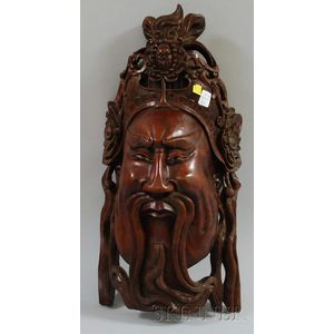 Asian Carved Rosewood Mask