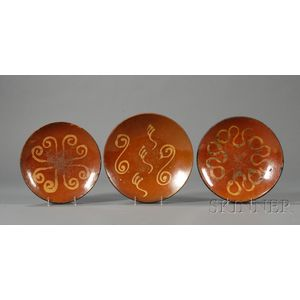 Three Large Redware Slip-decorated Plates
