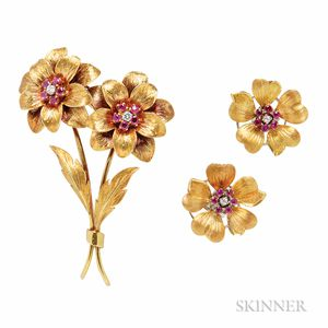 18kt Gold, Ruby, and Diamond Flower Brooch, Tiffany & Co.