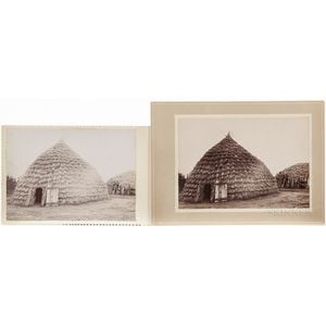 Two Cabinet Card Photos of Wichita Grass Houses