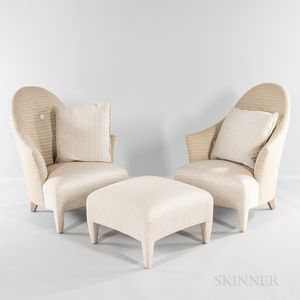 Pair of John Hutton Design for Donghia Club Chairs and Footrest