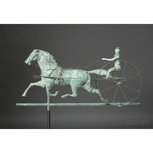 Molded Copper Trotting Horse and Sulky Weather Vane