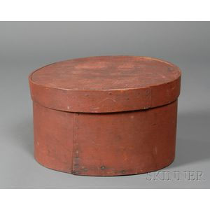 Red-painted Ash and Pine Lap-seam Covered Oval Pantry Box