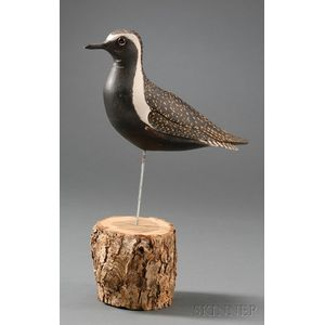 Carved and Painted American Golden Plover Shorebird Figure