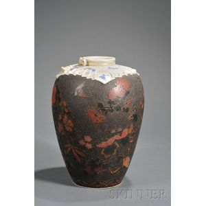 Cloisonne on Porcelain Vase