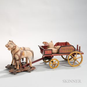 "Painted Toy ""Best Family Flour"" Wagon and Two Horses"