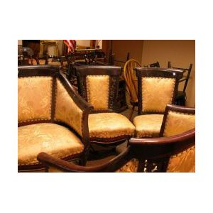 Four-Piece Victorian Upholstered Mahogany Parlor Suite.
