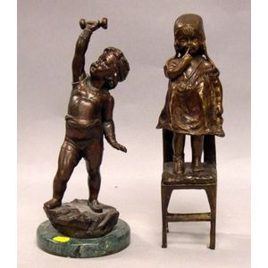 Bronze Figure of a Child on a Chair and a Bronze Figure of a Child with a Barbell