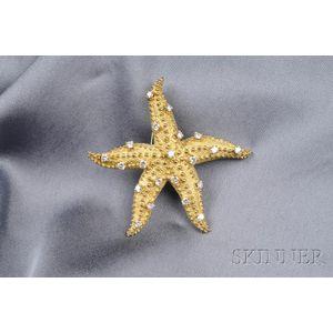 18kt Gold and Diamond Starfish Brooch