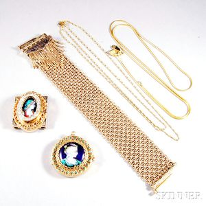 Two 14kt Gold Enameled Portrait Pendants