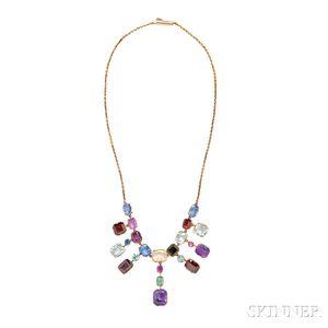 Gold Gem-set Fringe Necklace