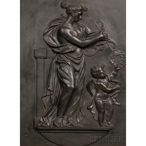 Wedgwood and Bentley Black Basalt Tablet Depicting Venus and Cupid