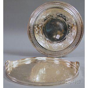 Georgian-style Oval Handled Tray and an International Circular Tray with Pierced Rim