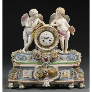 French Porcelain Cherub Clock