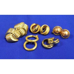 Five Pairs of Contemporary Gold Earrings.