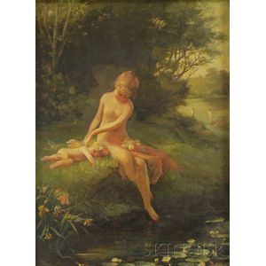 American School, 19th Century      Nymph/Bather with Putto on a Stream Bank.