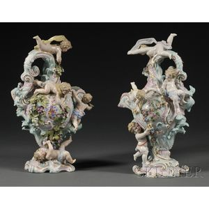 Pair of Volkstedt Porcelain Figural Ewers