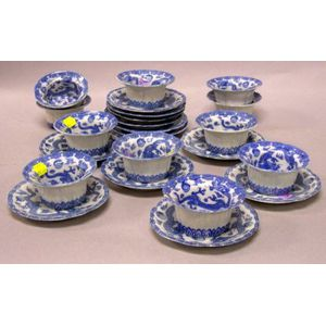 Set of Eleven Japanese Blue and White Decorated Porcelain Ramekins and Twelve Undertrays.